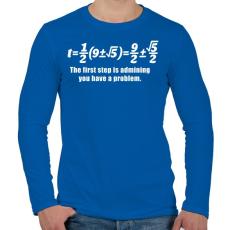 PRINTFASHION Math - Férfi hosszú ujjú póló - Királykék