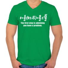 PRINTFASHION Math - Férfi V-nyakú póló - Zöld