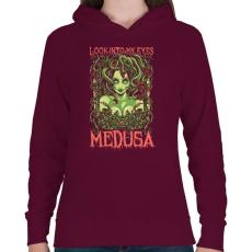 PRINTFASHION Medusa - Női kapucnis pulóver - Bordó