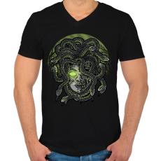 PRINTFASHION Medúza - Férfi V-nyakú póló - Fekete
