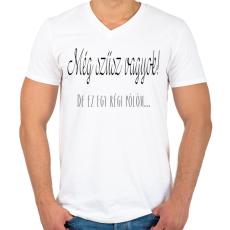 PRINTFASHION Még szűz vagyok!  - Férfi V-nyakú póló - Fehér