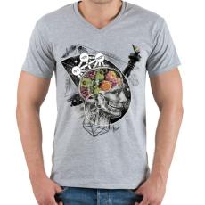 PRINTFASHION Megvilágosodás  - Férfi V-nyakú póló - Sport szürke