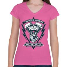 PRINTFASHION Mennydörgő motorok - Női V-nyakú póló - Rózsaszín