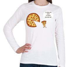 PRINTFASHION Mérges pizza - Női hosszú ujjú póló - Fehér