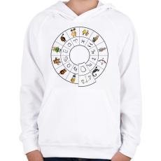 PRINTFASHION Mérleg - Gyerek kapucnis pulóver - Fehér