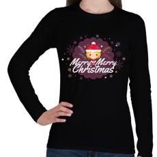 PRINTFASHION Merry Merry Christmas! - Női hosszú ujjú póló - Fekete