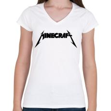PRINTFASHION METÁL minecraft - Női V-nyakú póló - Fehér