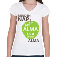 PRINTFASHION minden-nap-egy-alma-brown-green - Női V-nyakú póló - Fehér