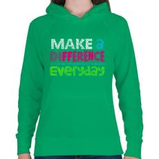 PRINTFASHION Mindennapok - Női kapucnis pulóver - Zöld