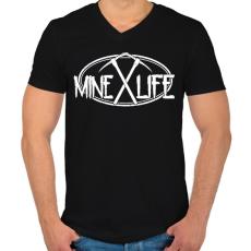 PRINTFASHION Minecraft - bányász élet - Férfi V-nyakú póló - Fekete