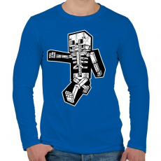 PRINTFASHION Minecraft csontváz - Férfi hosszú ujjú póló - Királykék