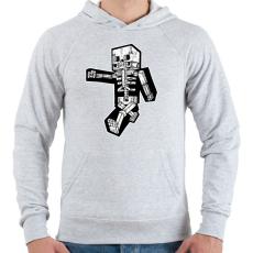 PRINTFASHION Minecraft csontváz - Férfi kapucnis pulóver - Sport szürke