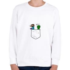 PRINTFASHION Minecraft Pocket - Gyerek pulóver - Fehér