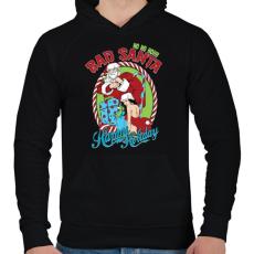 PRINTFASHION Mocskos Télapó - Férfi kapucnis pulóver - Fekete