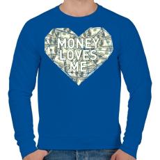 PRINTFASHION Money loves me - Férfi pulóver - Királykék