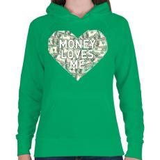 PRINTFASHION Money loves me - Női kapucnis pulóver - Zöld