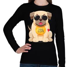 PRINTFASHION Mopsz kutya - Női hosszú ujjú póló - Fekete