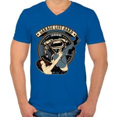 PRINTFASHION Motoros gyorsgarázs - Férfi V-nyakú póló - Királykék