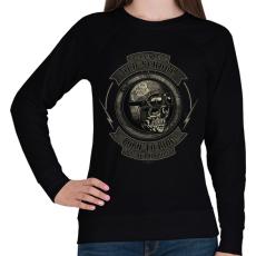 PRINTFASHION Motoros koponya - Női pulóver - Fekete