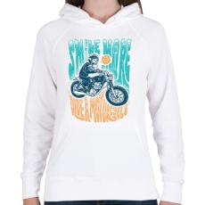 PRINTFASHION Motoros mosoly - Női kapucnis pulóver - Fehér