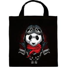 PRINTFASHION Motoros panda - Vászontáska - Fekete