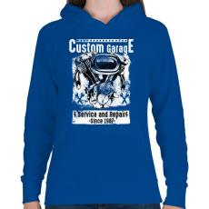 PRINTFASHION Motorszerelő - Női kapucnis pulóver - Királykék