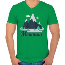 PRINTFASHION Mountain - Férfi V-nyakú póló - Zöld