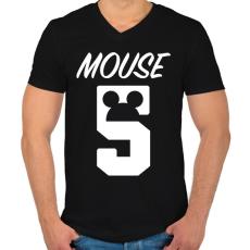 PRINTFASHION Mouse 5 - Férfi V-nyakú póló - Fekete