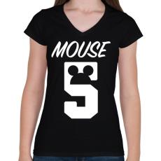 PRINTFASHION Mouse 5 - Női V-nyakú póló - Fekete