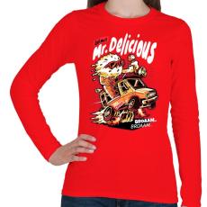 PRINTFASHION Mr Delicious - Női hosszú ujjú póló - Piros