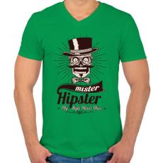 PRINTFASHION Mr. Hipszter - Férfi V-nyakú póló - Zöld