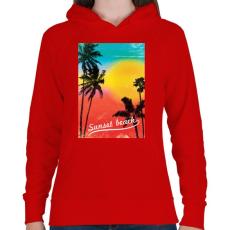 PRINTFASHION Napos part - Női kapucnis pulóver - Piros