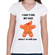 PRINTFASHION Nem érzem az arcom.. - Női V-nyakú póló - Fehér