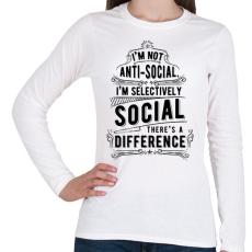 PRINTFASHION Nem vagyok antiszociális - Női hosszú ujjú póló - Fehér