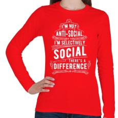 PRINTFASHION Nem vagyok antiszociális - Női hosszú ujjú póló - Piros