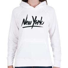 PRINTFASHION New York - Női kapucnis pulóver - Fehér