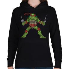 PRINTFASHION Ninja teknőc - Női kapucnis pulóver - Fekete