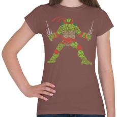 PRINTFASHION Ninja teknőc - Női póló - Mogyoróbarna