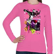 PRINTFASHION NO ANGEL - Női hosszú ujjú póló - Rózsaszín