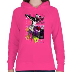 PRINTFASHION NO ANGEL - Női kapucnis pulóver - Fukszia