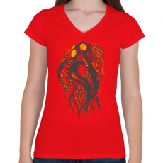 PRINTFASHION Oktobot - Női V-nyakú póló - Piros