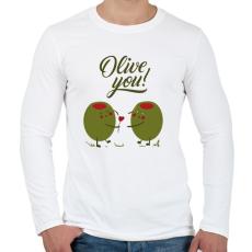 PRINTFASHION Oliva szerelem - Férfi hosszú ujjú póló - Fehér