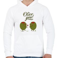 PRINTFASHION Oliva szerelem - Férfi kapucnis pulóver - Fehér