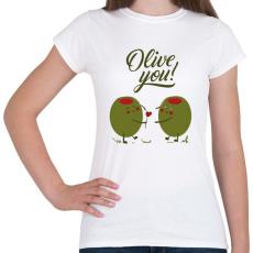 PRINTFASHION Oliva szerelem - Női póló - Fehér