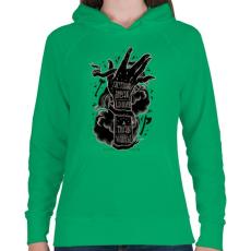 PRINTFASHION Ordíts a világba - Női kapucnis pulóver - Zöld