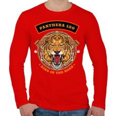 PRINTFASHION Oroszlán - Férfi hosszú ujjú póló - Piros