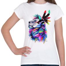 PRINTFASHION Oroszlán festmény - Női póló - Fehér