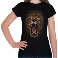 PRINTFASHION Oroszlán - Női póló - Fekete