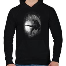 PRINTFASHION Ősi barlang - Férfi kapucnis pulóver - Fekete
