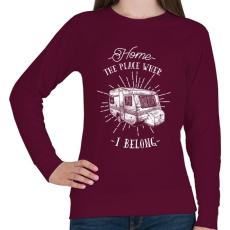 PRINTFASHION Otthon bárhol lehet - Női pulóver - Bordó